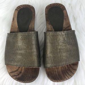 Florentine + Baker Leather Sandals Slip On SZ 6